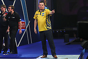 Dave Chisnall wins set and celebrates during the World Darts Championships 2018 at Alexandra Palace, London, United Kingdom on 28 December 2018.