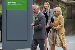 © Licensed to London News Pictures . 14/05/2015 . Liverpool , UK . The Prince or Wales and the Duchess of Cornwall arrive for a visit to the World Museum in Liverpool . Photo credit : Joel Goodman/LNP