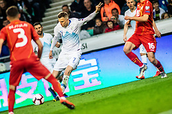 Egzon Bejtulai of Macedonia and Boban Nikolov of Macedonia vs Josip Iličić of Slovenia during football match between National teams of Slovenia and North Macedonia in Group G of UEFA Euro 2020 qualifications, on March 24, 2019 in SRC Stozice, Ljubljana, Slovenia.  Photo by Matic Ritonja / Sportida
