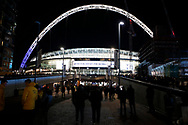 a General view of fans walking towards Wembley Stadium before kick off. Premier league match, Tottenham Hotspur v Manchester Utd at Wembley Stadium in London on Wednesday 31st January 2018.<br /> pic by Steffan Bowen, Andrew Orchard sports photography.