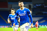 GOAL 1-1 Cardiff City's Kieffer Moore (10) celebrates scoring his side's first goal during the EFL Sky Bet Championship match between Cardiff City and Millwall at the Cardiff City Stadium, Cardiff, Wales on 30 January 2021.