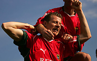 Photo:  Frances Leader.<br /> Gillingham FC v Cardiff City FC. Coca Cola Championship. <br /> Priestfield Stadium<br /> 30/04/05<br /> Cardiff's Paul Parry celebrates his soring of the second goal against Gillingham in the second half.