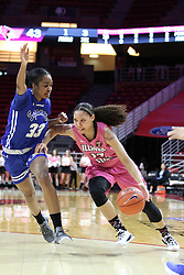 NORMAL, IL - February 10: Katrina Beck defended by Ty Battle during a college women's basketball Play4Kay game between the ISU Redbirds and the Indiana State Sycamores on February 10 2019 at Redbird Arena in Normal, IL. (Photo by Alan Look)