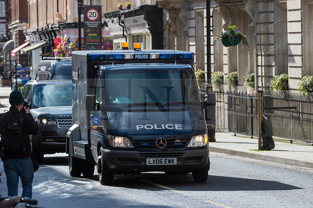© Licensed to London News Pictures. 13/03/2021. LONDON, UK.  A police van transporting Wayne Couzens, 48, a serving Met Police officer, arrives at Westminster Magistrates' Court.  He is to be charged with the kidnap and murder of Sarah Everard, who disappeared as she walked home in south London.  The 33-year-old's body was found in woodland in Kent more than a week after she was last seen on 3 March.  Photo credit: Stephen Chung/LNP