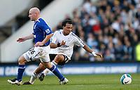 Photo: Steve Bond.<br />Derby County v Everton. The FA Barclays Premiership. 28/10/2007. Giles Barnes (R) turns the ball past Lee Carsley (L)