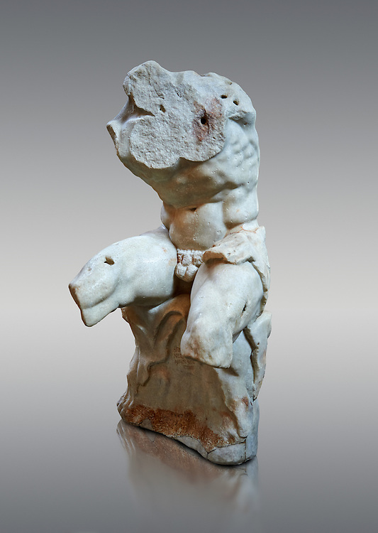 The celebrated Greek statue known as 'The Belvedere Torso', possibly of Greek hero Ajax, signed by Athenian neo-Attic sculptor Apollonios, ist century BC, inv 1192, Pope Clement collection, Vatican Museum Rome, Italy,  grey  background ..<br /> <br /> If you prefer to buy from our ALAMY STOCK LIBRARY page at https://www.alamy.com/portfolio/paul-williams-funkystock/greco-roman-sculptures.html . Type -    Vatican    - into LOWER SEARCH WITHIN GALLERY box - Refine search by adding a subject, place, background colour, museum etc.<br /> <br /> Visit our CLASSICAL WORLD HISTORIC SITES PHOTO COLLECTIONS for more photos to download or buy as wall art prints https://funkystock.photoshelter.com/gallery-collection/The-Romans-Art-Artefacts-Antiquities-Historic-Sites-Pictures-Images/C0000r2uLJJo9_s0c