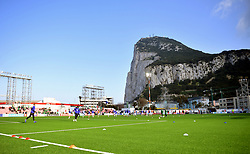 Both teams warm up prior to the UEFA Euro 2020 Qualifying, Group D match at the Victoria Stadium, Gibraltar.