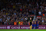 FC Barcelona team celebrates his first goal of the match during the La Liga match between Barcelona and Atletico Madrid at Camp Nou, Barcelona, Spain on 21 September 2016. Photo by Eric Alonso.
