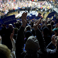 YOUNGSTOWN, OH - March 14, 2016.  Bernie Sanders supporters cheer during a rally at the Covelli Center in Youngstown, OH, March 14, 2016.  Five states go to the polls tomorrow, including the winner take all Ohio, with 143 delegates for the Democrats, and 66 delegates for the Republicans.  CREDIT: Mark Makela for The New York Times