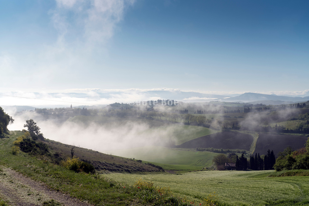 panoramic view of Alaigne during early morning France Aude