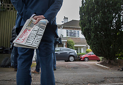 © Licensed to London News Pictures. 04/09/2016. London, UK. Journalists stand outside the home of Keith Vaz MP.  A Sunday newspaper has printed allegations that Mr Vaz met with male prostitutes at his flat.  He has stood down from the chairmanship of the Home Affairs Select Committee. Photo credit: Peter Macdiarmid/LNP