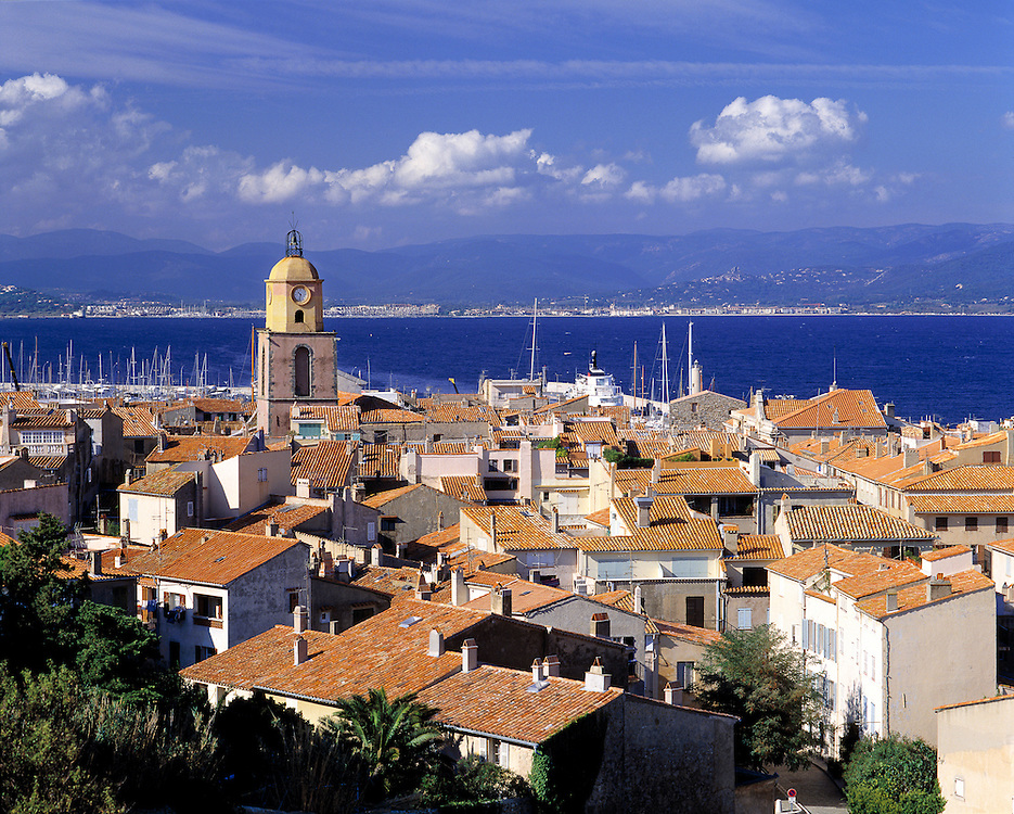Red-tiled roofs fill the overview of St. Tropez on the French Riviera, France.