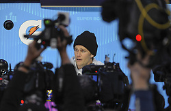 January 29, 2018 - Minneapolis, Minnesota, U.S - New England Patriots quarterback TOM BRADY is surrounded by media at Super Bowl LII Opening Night at the Xcel Energy Center in St. Paul, Minnesota. (Credit Image: © Craig Lassig via ZUMA Wire)