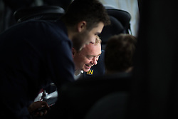 © Licensed to London News Pictures . 22/06/2016 . Cambridge , UK . Liberal Democrat leader TIM FARRON talking with campaign staff on the Lib Dem EU Remain Battle Bus , en route to a rally in Cambridge . Photo credit : Joel Goodman/LNP