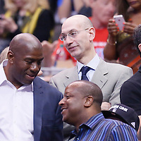11 May 2014: Adam Silver is seen near Magic Johnson during the Los Angeles Clippers 101-99 victory over the Oklahoma City Thunder, during Game Four of the Western Conference Semifinals of the NBA Playoffs, at the Staples Center, Los Angeles, California, USA.