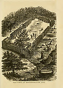 Old Fort at Boonsborough [Boonesborough], 1775 from the book ' Historical Sketches Of Kentucky (1847) ' ITS HISTORY, ANTIQUITIES, AND NATURAL CURIOSITIES, GEOGRAPHICAL, STATISTICAL, AND GEOLOGICAL DESCRIPTIONS. WITH ANECDOTES OF PIONEER LIFE By Lewis Collins. Published by Lewis Collins, Maysville, KY. and J. A. & U. P. James Cincinnati. in 1847