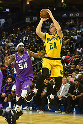 July 6, 2018 - Oakland, California, United States - Ball Hogs Brian Scalabrine (24) goes up for a shot against Ghost Ballers Lee Nailon (54) during Week 3 of the BIG3 3-on-3 basketball league at Oracle Arena. (Credit Image: © Debby Wong via ZUMA Wire)