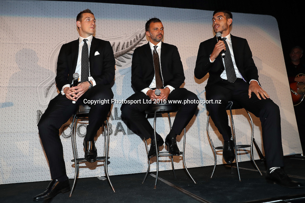 Chris Wood, Anthony Hudson and Michael Boxall. 125th Anniversary of New Zealand Football, Heritage Hotel Auckland, Wednesday 9th November 2016. Copyright Photo: Shane Wenzlick