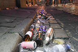 © Licensed to London News Pictures. 16/04/2021. Liverpool, UK. Litter is left as revellers enjoy the first weekend in Liverpool city centre after lockdown restrictions were eased. Photo credit:  Ioannis Alexopoulos/LNP