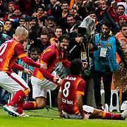 Galatasaray's Selcuk Inan (R) celebrate his goal with team mate during their Turkish Super League soccer match Galatasaray between Istanbul Basaksehir at the AliSamiYen Spor Kompleksi TT Arena at Seyrantepe in Istanbul Turkey on Saturday, 14 March 2015. Photo by Aykut AKICI/TURKPIX
