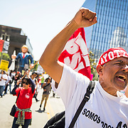 A May Day rally in Los Angeles took on a political tone with demonstrators opposed to Republican presidential candidate Donald Trump taking to the streets in opposition to his anti-immigrant remarks regarding Mexicans. Please contact me directly with licensing request.