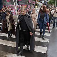 "Hungarian Star Wars fans celebrate the ""May the 4th be with you"" international Star Wars day marching dressed as their favourite movie characters in downtown Budapest, Hungary on May 4, 2019. ATTILA VOLGYI"
