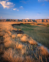 Morning over prairies and badlands, Badlands National Park South Dakota USA