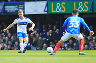 Callum Camps shoots during the EFL Sky Bet League 1 match between Portsmouth and Rochdale at Fratton Park, Portsmouth, England on 13 April 2019.
