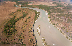 Aerial view of the Fitzroy River as it winds toward King Sound, west of Derby