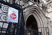 A No Entry sign has been placed on the railings outside the Royal Courts of Justice The High Court outside the Royal Courts of Justice, during the third lockdown of the Coronavirus pandemic, on 2nd February 2021, in London, England. Judicial and legal proceedings have been put under great pressure during continued lockdowns with hearings and court cases severely delayed.