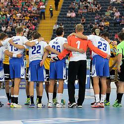 Rhein-Neckar Loewen und HSV Handball beim Anwurf im Spiel Rhein-Neckar-Loewen - HSV Handball.<br /> <br /> Foto © P-I-X.org *** Foto ist honorarpflichtig! *** Auf Anfrage in hoeherer Qualitaet/Aufloesung. Belegexemplar erbeten. Veroeffentlichung ausschliesslich fuer journalistisch-publizistische Zwecke. For editorial use only.