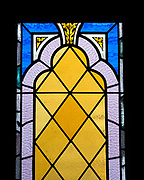 Detail of 'Fred Emery Beane II Memorial Window' lower portion, Jackman Studio, date unknown.  St. Matthew and Barnabas, Hallowell, Maine.
