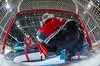 KELOWNA, BC - NOVEMBER 30:  Roman Basran #30 of the Kelowna Rockets defends the net against the Prince George Cougars at Prospera Place on November 30, 2019 in Kelowna, Canada. (Photo by Marissa Baecker/Shoot the Breeze)