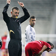 Referee's Tolga Ozkalfa during their Turkish superleague soccer match Besiktas between Gaziantepspor at BJK Inonu Stadium in Istanbul Turkey on Tuesday, 05 January 2012. Photo by TURKPIX