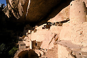 Evening light on the interior of Cliff Palace Ruin, Mesa Verde National Park (World Heritage Site), Colorado.