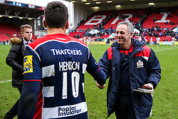 Bristol Rugby head coach Mark Tainton   congratuates Gavin Henson on a Man of the Match performance after Bristol Rugby win 12-11 - Rogan Thomson/JMP - 26/02/2017 - RUGBY UNION - Ashton Gate Stadium - Bristol, England - Bristol Rugby v Bath - Aviva Premiership.