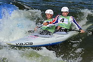 Great Britain's Timothy Baillie and Etienne Stott in the  C2 (Canoe double) class .ICF Canoe slalom world cup at the Cardiff white water centre in Cardiff, South Wales on Sat 9th June 2012.  pic by Andrew Orchard, Andrew Orchard sports photography,