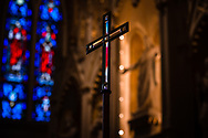 The processional cross and chancel stained glass on Saturday, Jan. 16, 2021, at Zion Lutheran Church, Fort Wayne, Indiana. LCMS Communications/Erik M. Lunsford