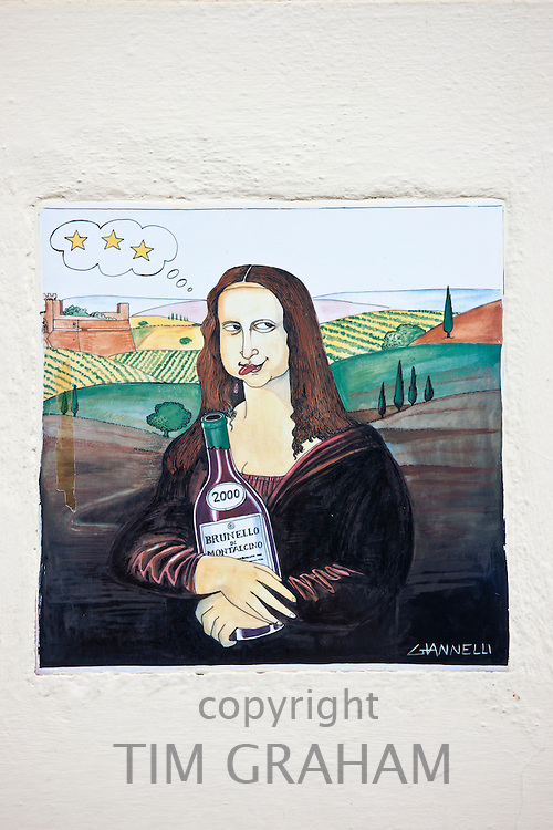 Cartoon picture of the Mona Lisa celebrating a year's wine vintage, Le Annate del Brunello, in Montalcino, Val D'Orcia,Tuscany, Italy