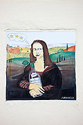 Cartoon picture of the Mona Lisa for label celebrating a year wine vintage, Le Annate del Brunello, in Montalcino, Val D'Orcia,Tuscany, Italy