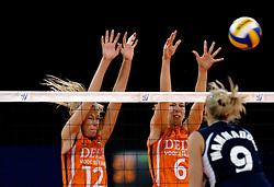 11-11-2007 VOLLEYBAL: PRE OKT: NEDERLAND - AZERBEIDZJAN: EINDHOVEN<br /> Nederland wint ook de de laatste wedstrijd. Azerbeidzjan verloor met 3-1 / Manon Flier en Mirjam Orsel<br /> ©2007-WWW.FOTOHOOGENDOORN.NL