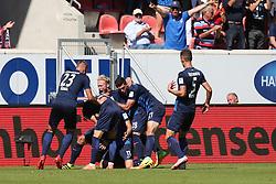 07.08.2016, Voith Arena, Heidenheim, GER, 2. FBL, 1. FC Heidenheim vs FC Erzgebirge Aue, 1. Runde, im Bild Jubel nach dem 1:0 von Denis Thomalla ( 1.FC Heidenheim ) // during the 2nd German Bundesliga 1st round match between 1. FC Heidenheim and FC Erzgebirge Aue Voith Arena in Heidenheim, Germany on 2016/08/07. EXPA Pictures © 2016, PhotoCredit: EXPA/ Eibner-Pressefoto/ Langer<br /> <br /> *****ATTENTION - OUT of GER*****