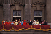 Members of the British Royal Family appear on the balcony of Buckingham Palace after the Queens annual Trooping the Colour ceremony, on 15th June 1991, in London, England. Present are the Queen and the Queen Mother; the Duke of Edinburgh; Princess Margaret; Prince Charles and Diana Princess of Wales and Prince Andrew.