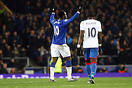 Romelu Lukaku of Everton celebrates after scoring his teams 1st goal to make it 1-1. Barclays Premier league match, Everton v Crystal Palace at Goodison Park in Liverpool, Merseyside on Monday 7th December 2015.<br /> pic by Chris Stading, Andrew Orchard sports photography.