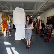 """18.05.2018.          <br /> More than 500 people attended the flagship event of the inaugural Unwrap LSAD Fashion Festival in Limerick.<br /> <br /> Graduate Kelly O'Rourke, Leitrim is pictured with her Design, Turadh.<br /> <br /> The Limerick School of Art & Design, LIT, Fashion Design Graduate Exhibition and launch of the """"The Fashion Film"""" at Limerick City Gallery of Art, in partnership with EVA International, attracted hundreds of people from the world of fashion. <br /> <br /> A total of 27 fashion graduates presented their designs alongside the specially commissioned film by fashion stylist and creative director Kieran Kilgallon and videographer Albert Hooi. Picture: Alan Place"""