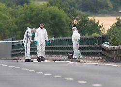 ©Licensed to London News Pictures 16/07/2020     <br /> Tonbridge, UK. Forensics officers working on the London bound carriageway, The burn out car was on the coast bound carriageway. A woman has died and a man has been arrested following a car fire on the A21 near Tonbridge in Kent. A police cordon is in place and the A21 is closed. Photo credit: Grant Falvey/LNP
