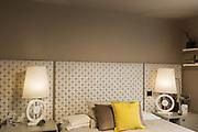 Elegant bedroom with wardrobe. Nobody inside