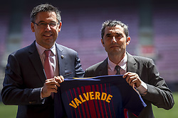 June 1, 2017 - Barcelona, Catalonia, Spain - FC Barcelona's new head coach Ernesto Valverde (R) poses for a photo with team's jersey during his presentation at Camp Nou stadium in Barcelona, Spain on June 01, 2017. (Credit Image: © Miquel Llop/NurPhoto via ZUMA Press)