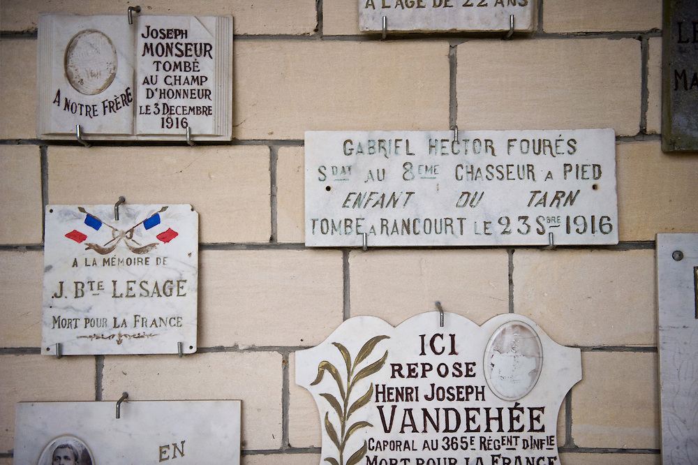 Memorial at the  Chapel of Remembrance (Chapelle des Souvenirs ) in Rancourt, Picardy build by the dy Bos family as a commemoration to their son Jean and his comrades who were killed there in September 1916. The National Cemetery of Rancourt is the largest French cemetery in Somme with 8566 graves.