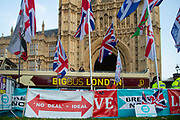 On the day that the UK was scheduled to leave the European Union, pro leave placards along side the Union Jack  opposite the Houses of Parliament in London, United Kingdom on 31st October 2019. A further extension has been granted until 31st January 2020 and a general election has been called, in a bid to break the Parliamentary deadlock.